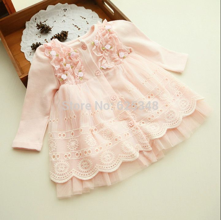 2018 Spring and autumn 0-2 yrs baby clothing floral lace lovely princess newborn baby tutu dress infant dresses vestido infantil