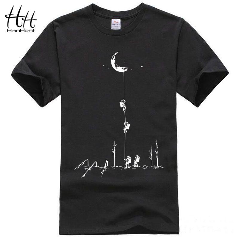 HanHent Drôle T chemises Hommes D'été Mode Montée À La Lune Imprimé T-shirt Occasionnel À Manches Courtes O-cou T-shirt En Coton Tops t-shirts