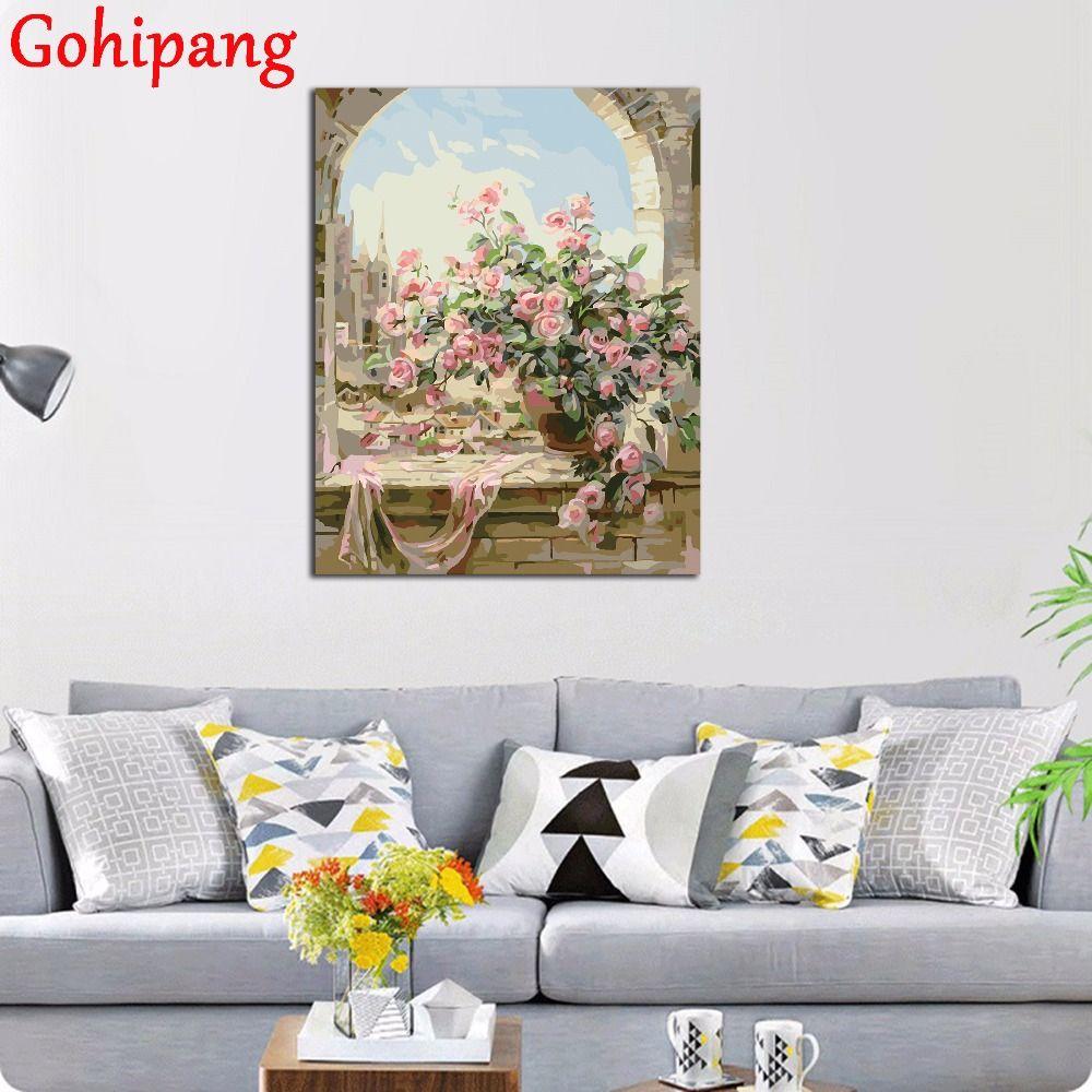 Fleurs Scène Peinture Par Numéros BRICOLAGE Kits Mur Photos pour salon Coloration À L'huile Peinture Par Numéros Toile Arts