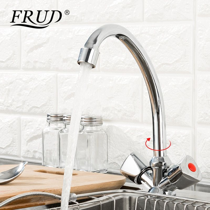 FRUD 1 set Double Handle Kitchen Faucet Mixer Cold & Hot Water Kitchen Tap Mixer Single Hole Water Tap torneira cozinha R40111
