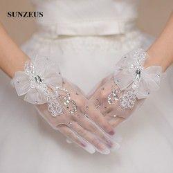 Wrist Panjang Penuh Finger Gloves Bridal Beaded Sequin Charming Aksesoris Pernikahan Sheer Tulle Sarung Tangan Pendek