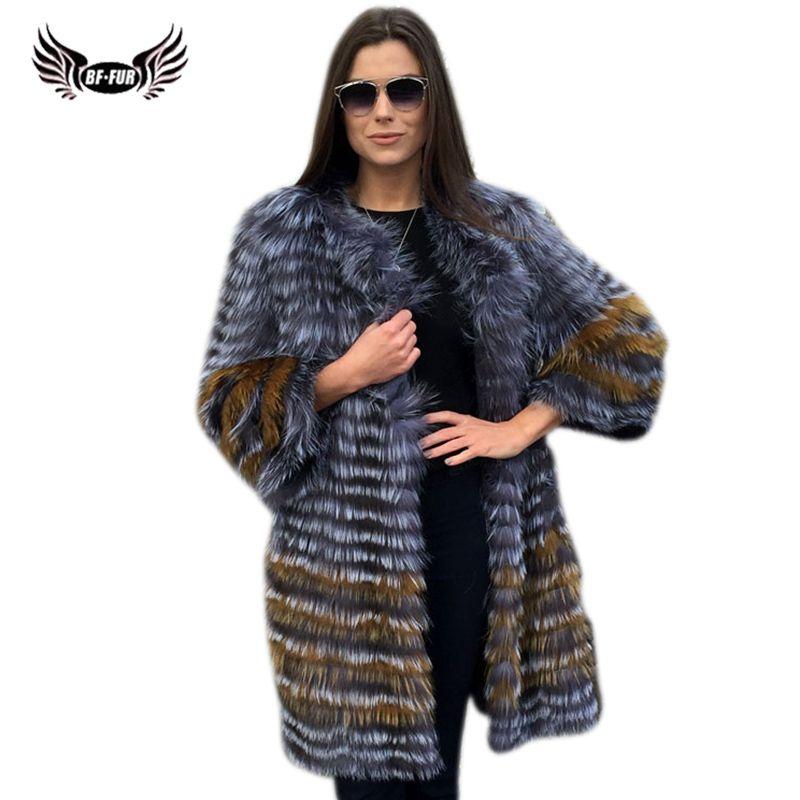 BFFUR Women's Winter Real Fox Fur Coat 2018 New fashion Silver Fur Jacket Striped Style Overcoat Women Natural Fox Fur Outerwear