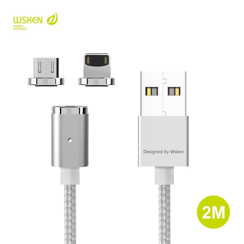 Original WSKEN 2M Magnetic Micro USB Type C Data Charging Cable For iphone X 5 5S SE 6 6S 7 8 Plus ipad Xiaomi Samsung HTC Cable