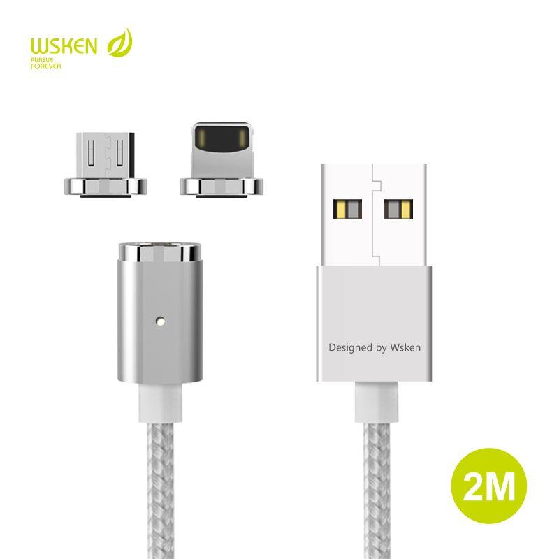 WSKEN Original 2 Mt Magnetic Micro USB Typ C Daten-ladekabel Für iphone X 5 5 S SE 6 6 S 7 8 Plus ipad Xiaomi Samsung HTC kabel