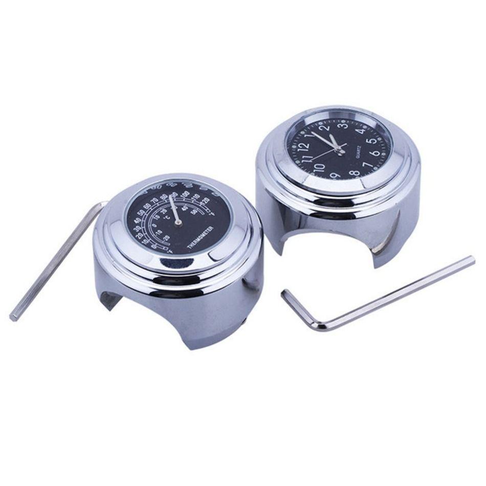 1 Pair Waterproof 7/8 Motorcycle Handlebar Black Dial Clock Temp Thermometer For Universal