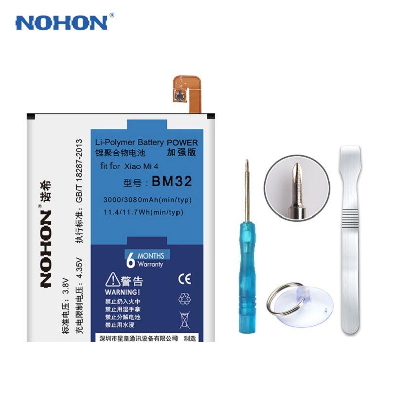 Original NOHON 3000mAh Battery For XiaoMi Mi4 Mi 4 XiaoMi4 M32 Replacement Phone High Capacity Lithium Bateria + Tools +Package