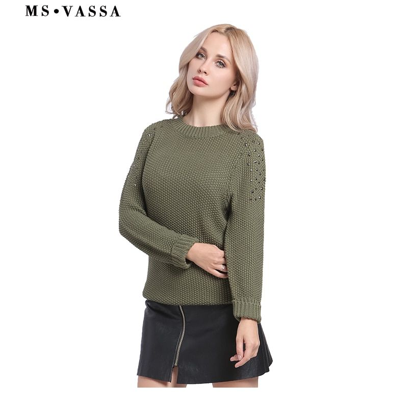 MS VASSA Women Sweaters 2017 New Autumn Winter Ladies Army green Jumpers crew neck long sleeve Pullovers casual oversized