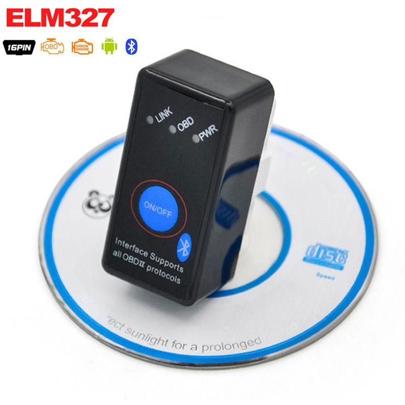 Super Mini V2.1 ELM327 Bluetooth ELM 327 BT V2.1 OBD2 OBD ii OBD 2 Car Code Scanner with Switch for Android Symbian Windows