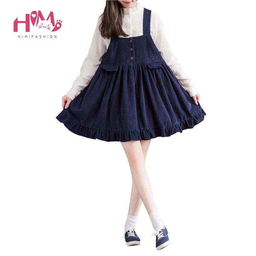Mori Girl Womens Pleated Strap Corduroy Dress Japan Fashion sleeveless Cute Casual Overalls Dresses Female Suspenders Vestidos