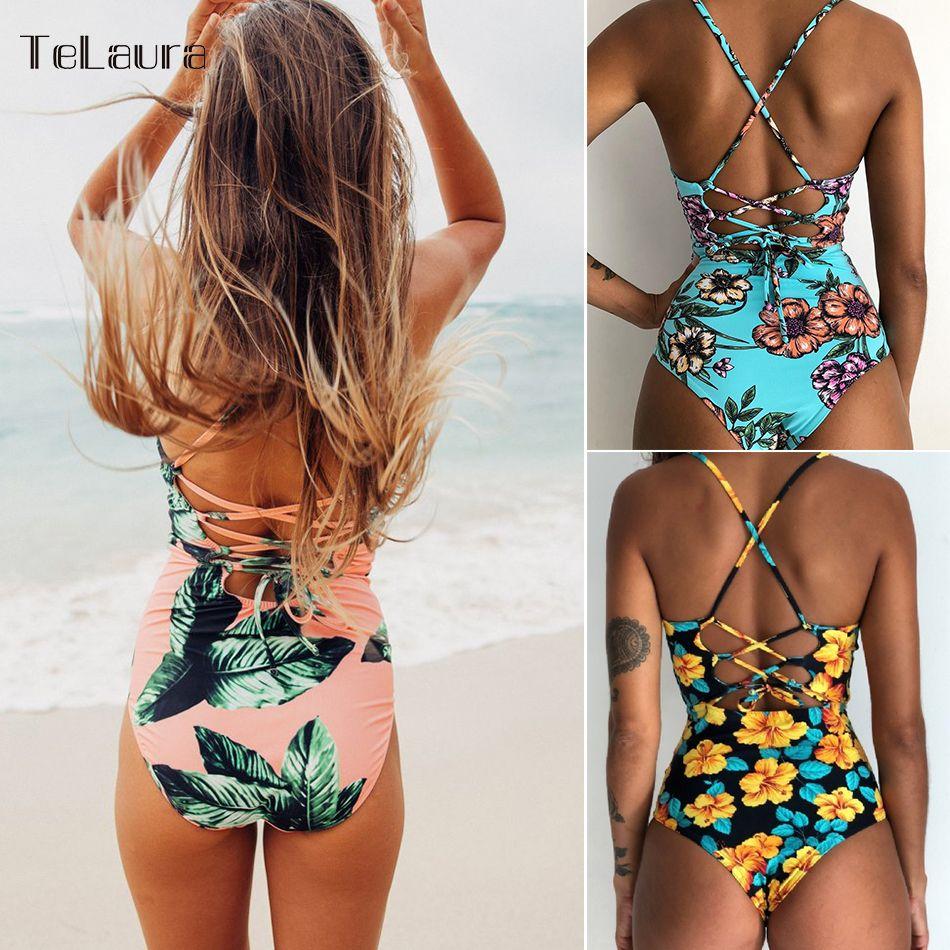 2017 Sexy D'une Seule Pièce Maillot de Bain Femmes Maillots De Bain Imprimer Body Crochet Bandage Cut Out Beach Wear Maillot de bain Monokini Maillot de Bain XL