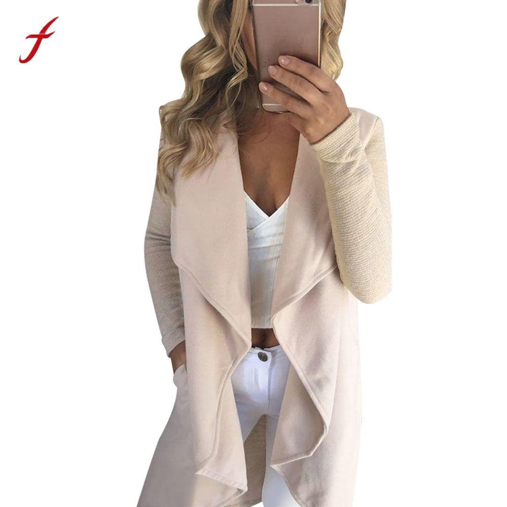Women Ladies Long Sleeve Cardigan Coat Open Front Jacket Solid Casual Autumn women's jacket  Fashuon Coat Female 2017