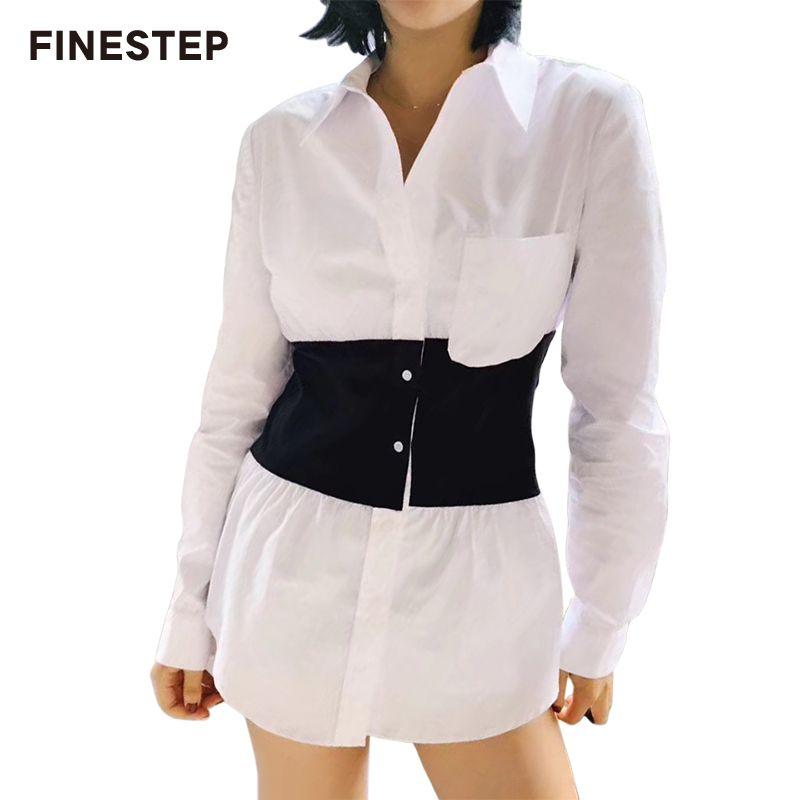 Frühjahr Neue Baumwolle Hemd Kleid Weiß Schwarz Shirt Kleid 2018 Frauen Herbst Kleid Lange Hülse Plus Größe Lose Kurze Kleid casual
