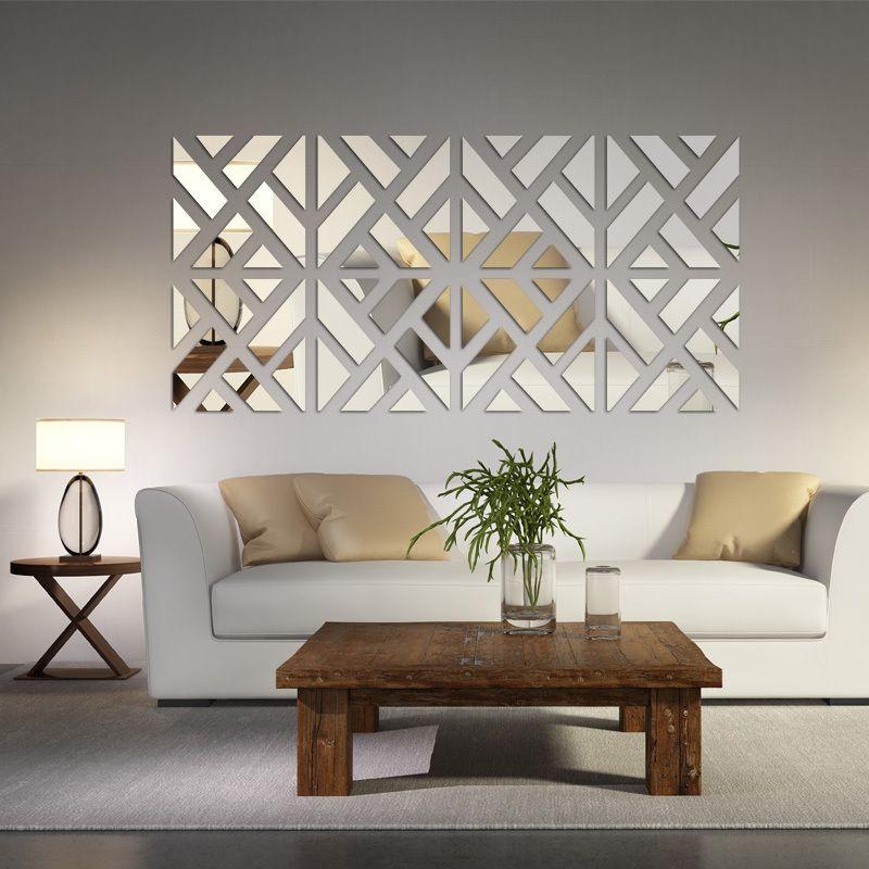 Promotion 2019 nouveaux autocollants muraux 3d offre spéciale réelle salon décoration de la maison moderne nature morte maison bricolage sticker mural acrylique miroir
