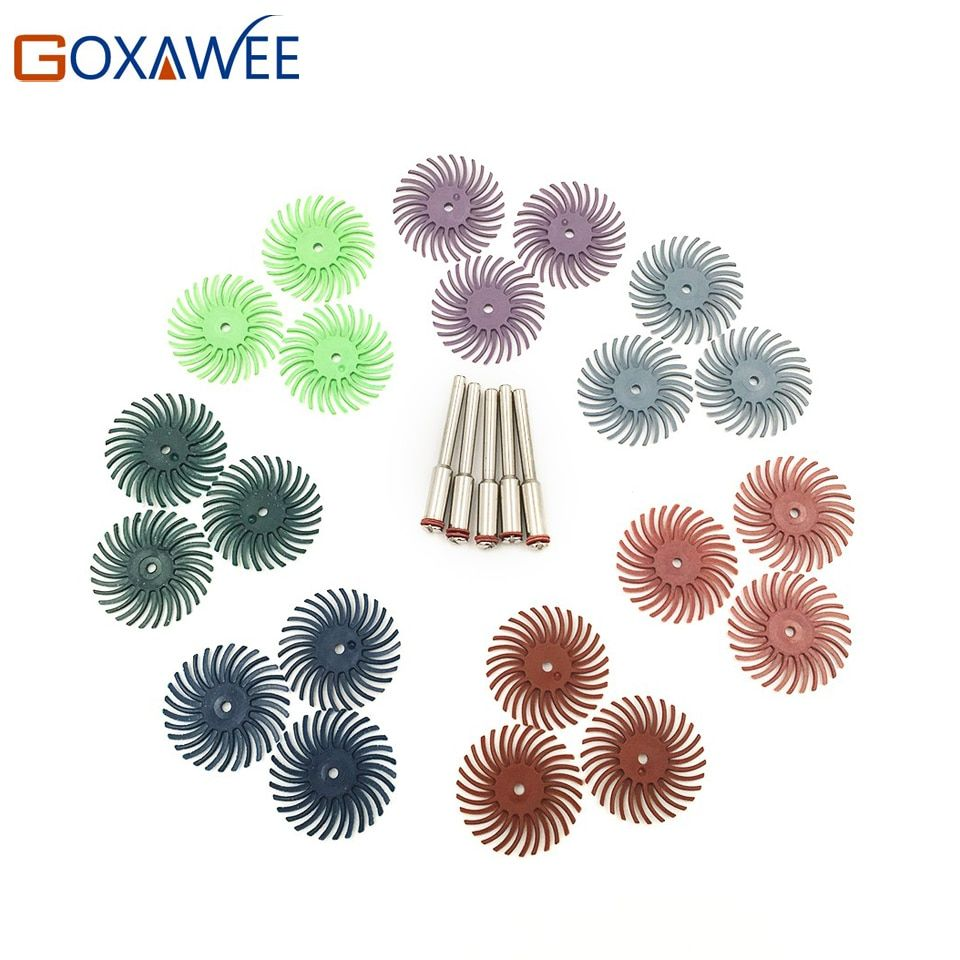 Hot 12pcs Radial Bristle Abrasive Brush Mixed Grit Coarse Dremel Accessories For Dremel Rotary Tools Abrasive Tool +2pcs Mandrel
