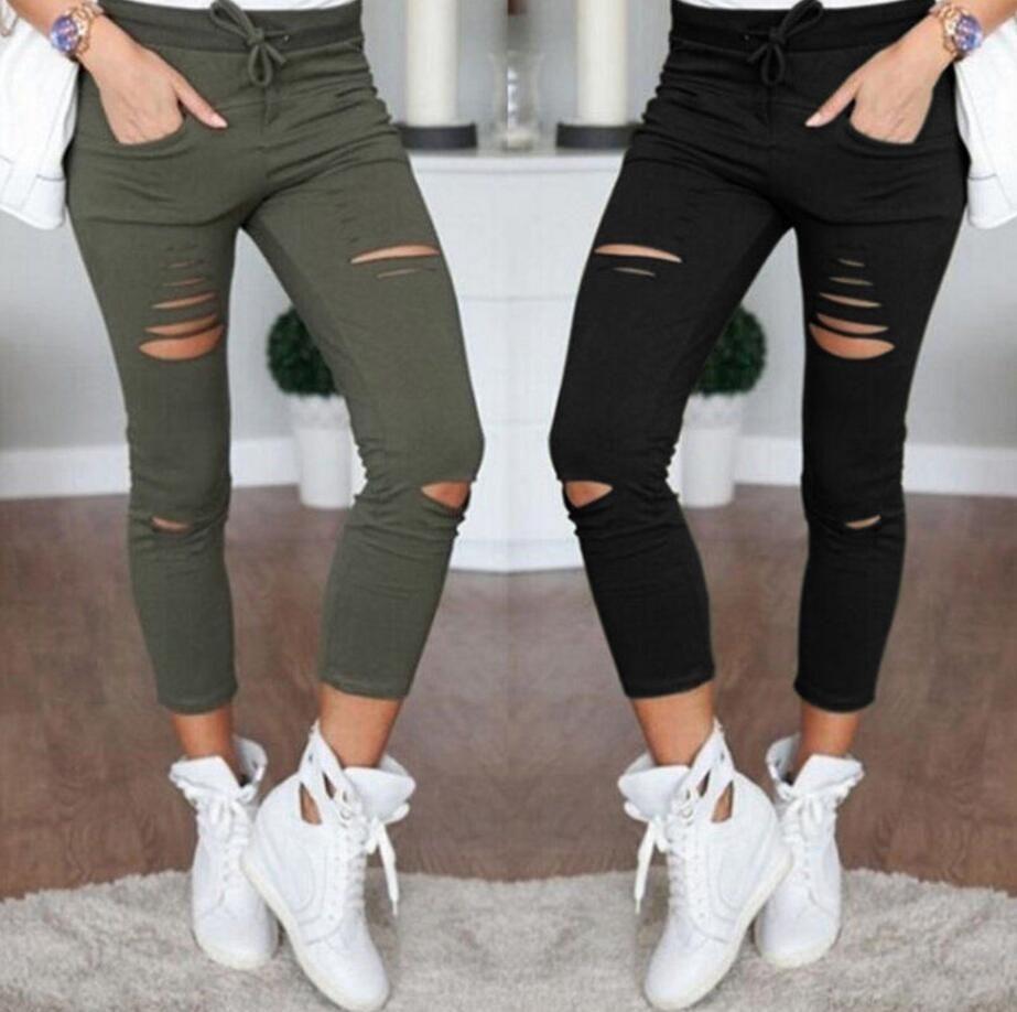 Nouveau 2019 Skinny Jeans femmes Denim pantalon trous détruit genou crayon pantalon décontracté noir blanc Stretch déchiré Jeans