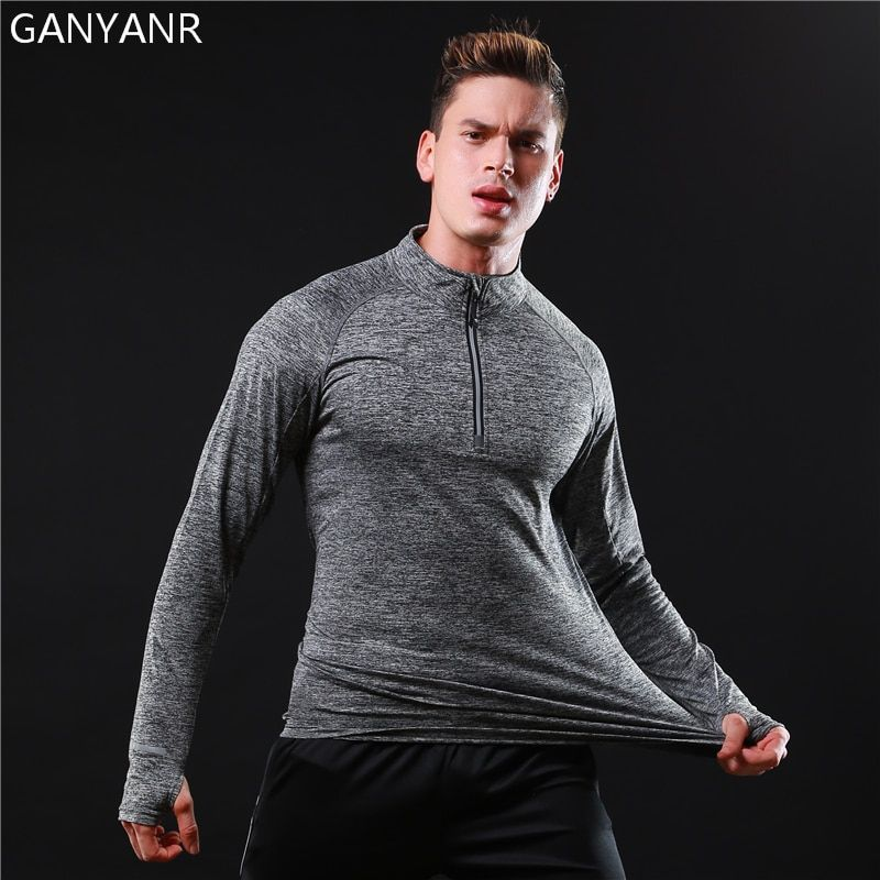 GANYANR Brand Running T Shirt Men Long Sleeve Sportswear Tennis Jogging Fitness Tops Tee Slim Fit quick Dry Exercise Gym Sports