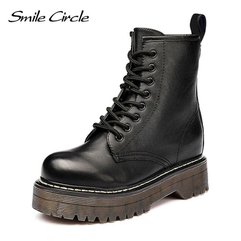 Sourire cercle Size36-41 Chunky moto bottes pour femmes automne 2018 mode bout rond à lacets bottes de Combat dames chaussures