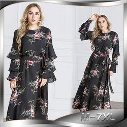 Elegan Maxi Dress Print Bunga Ditambah Ukuran Abaya Muslim Jubah Panjang Gaun Longgar Gaya Maroko Timur Tengah Arab Islamic Pakaian