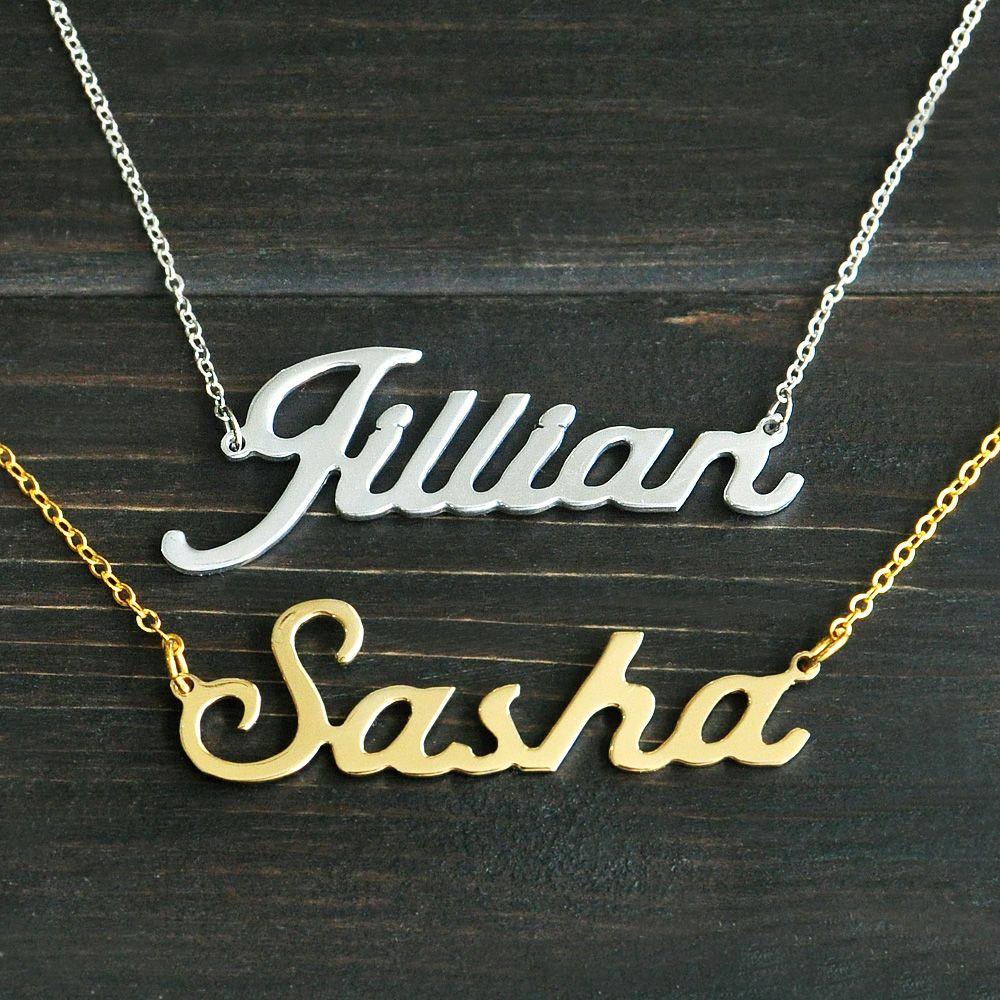 Любой персонализированные имя Цепочки и ожерелья сплава кулон Элисон шрифт увлекательный подвеска пользовательское имя Цепочки и ожерель...