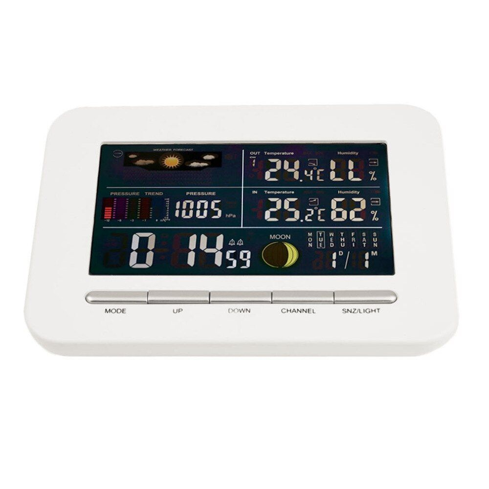 Wireless Professional Weather Station Indoor Outdoor Thermometer Humidity Colorful Display Screen Weather Station Alarm Clock