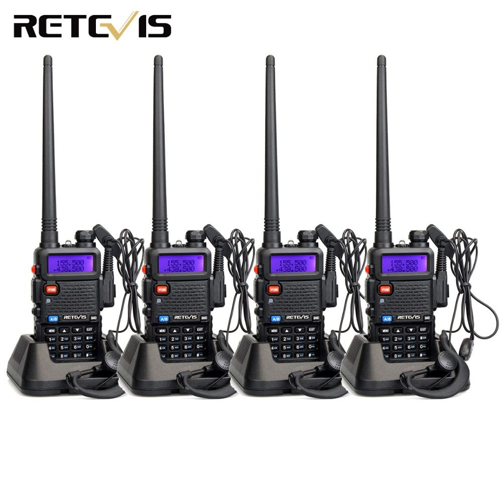 4pcs Walkie Talkie Retevis RT-5R RT5R 5W 128CH VHF UHF Dual Band FM Radio VOX Scan Portable Amateur Radio Station Two Way Radio