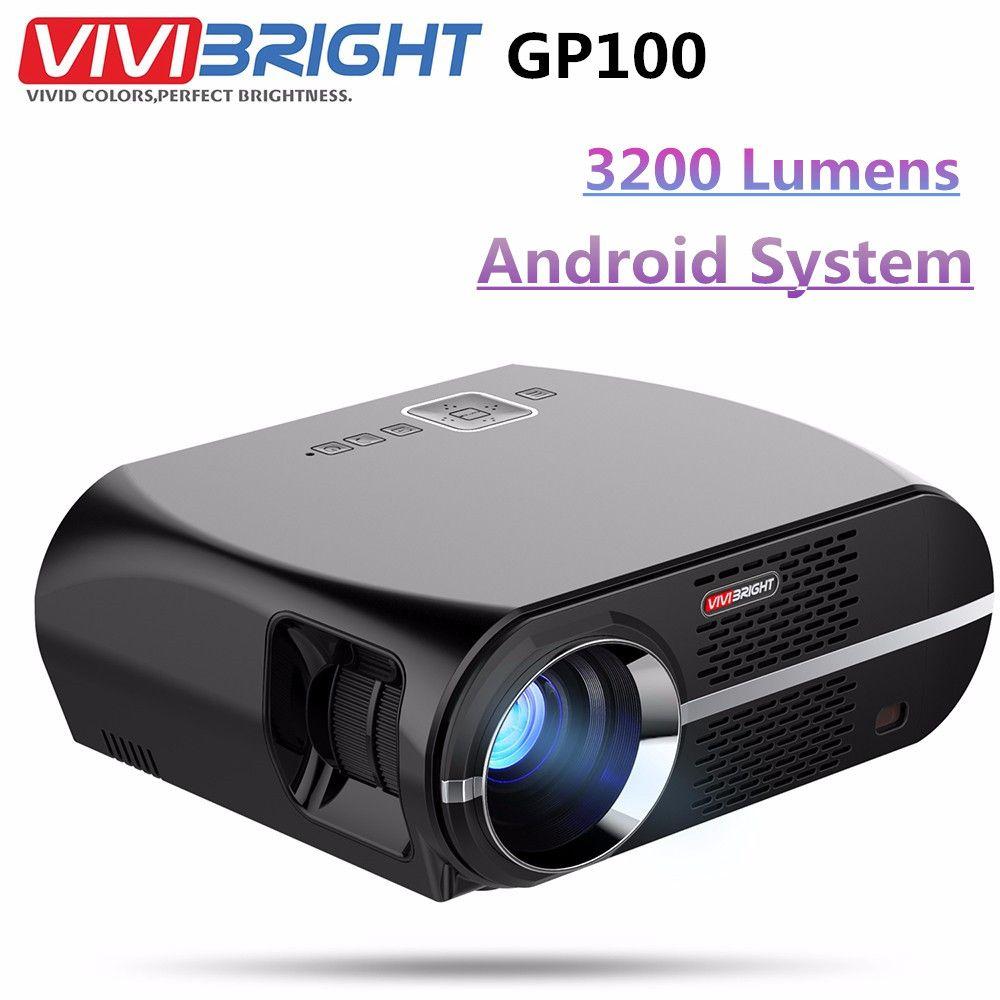 VIVIBRIGHT GP100 Android Projektor Full HD 3200 Lumen 1080 p WIFI Bluetooth LED LCD Home Theater Kino Video Projektor Proyector