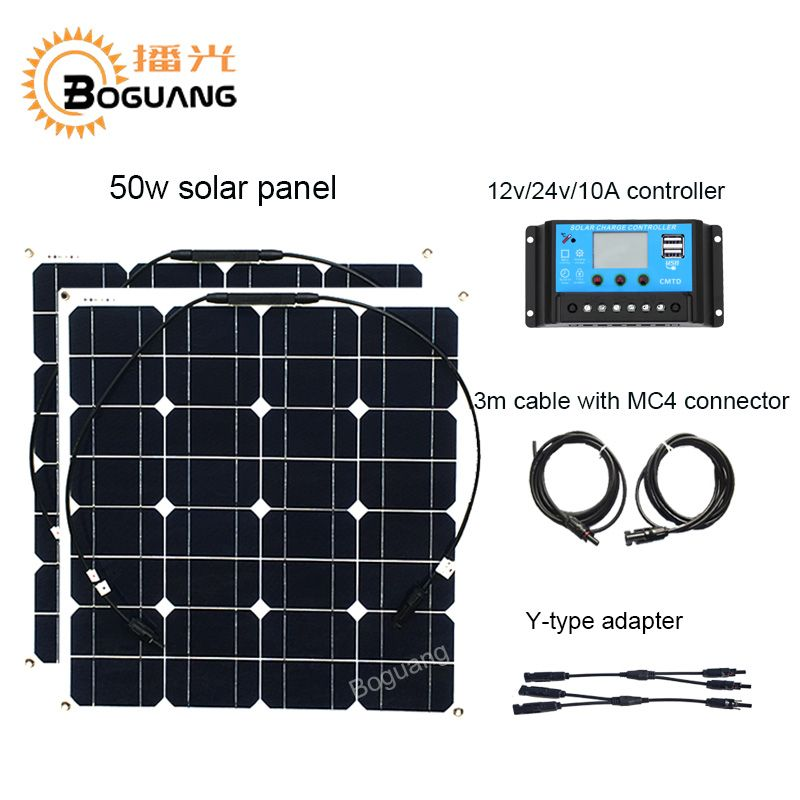 Boguang 100w solar system 50w Monocrystalline solar panel cell Y-type cable adapter MC4 connector DIY kit module 12v battery