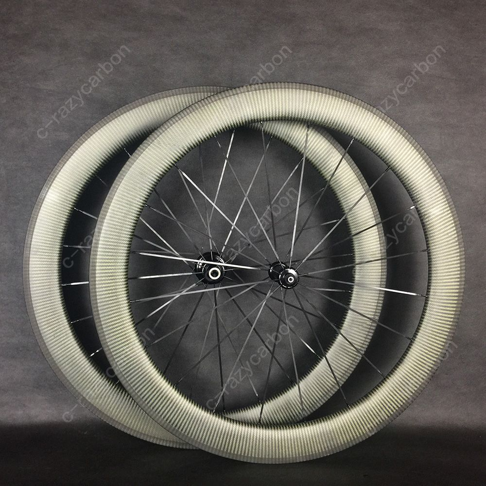Kevlar Wheelset 700C Carbon 35/45/50/60mm Depth Road Rims in 25 Outer Width Clincher And Tubular