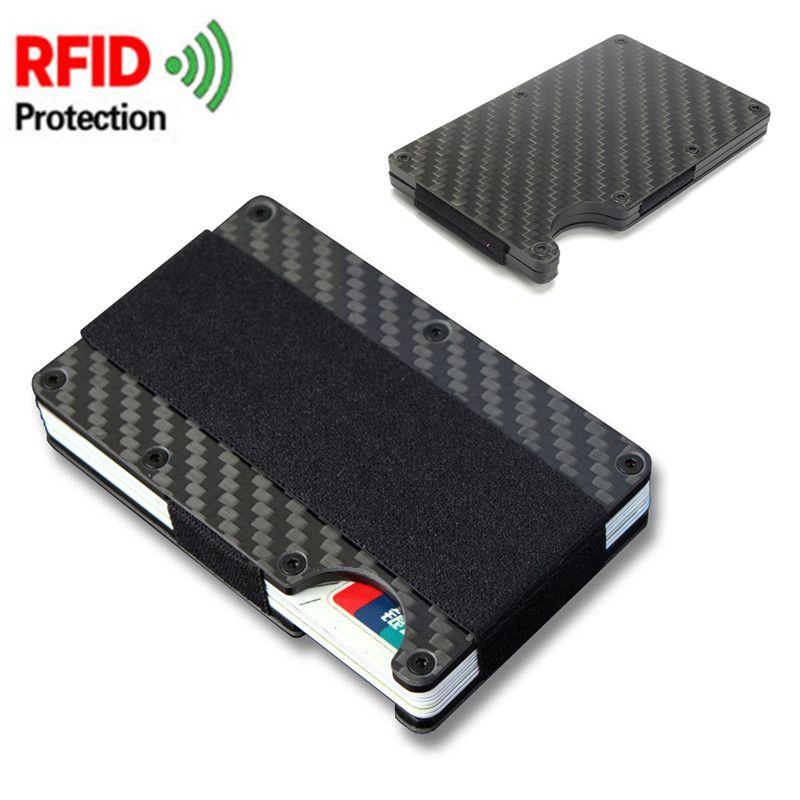 Porte-cartes Osmond Rfid Porte-cartes mince en Aluminium pour Porte-Carte d'affaires avec Porte-monnaie élastique
