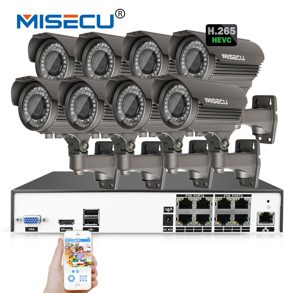 MISECU H.265/H.264 48V 8*4.0MP 2.8-12mm Zoom Hi3516D OV4689 8Ch IEE802.3af 4.0MP Onvif 4K POE P2P HDMI Metal Night CCTV System