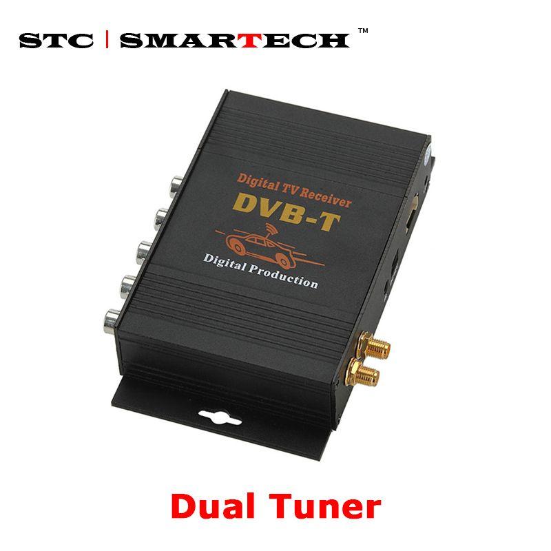 SMARTECH DVBT Dual tuner Digital TV Receiver external box Mobile DVBT TV Receiver for Car DVD digital TV tuner Mpeg4
