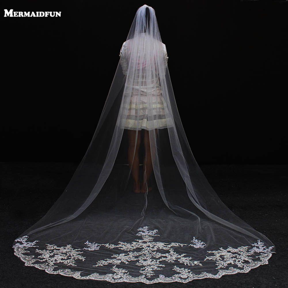2017 Real Photos 3 Meters Lace Long Wedding Veil with Comb Elegant One Layer Bridal Veil Velos De Novia Wedding Accessories
