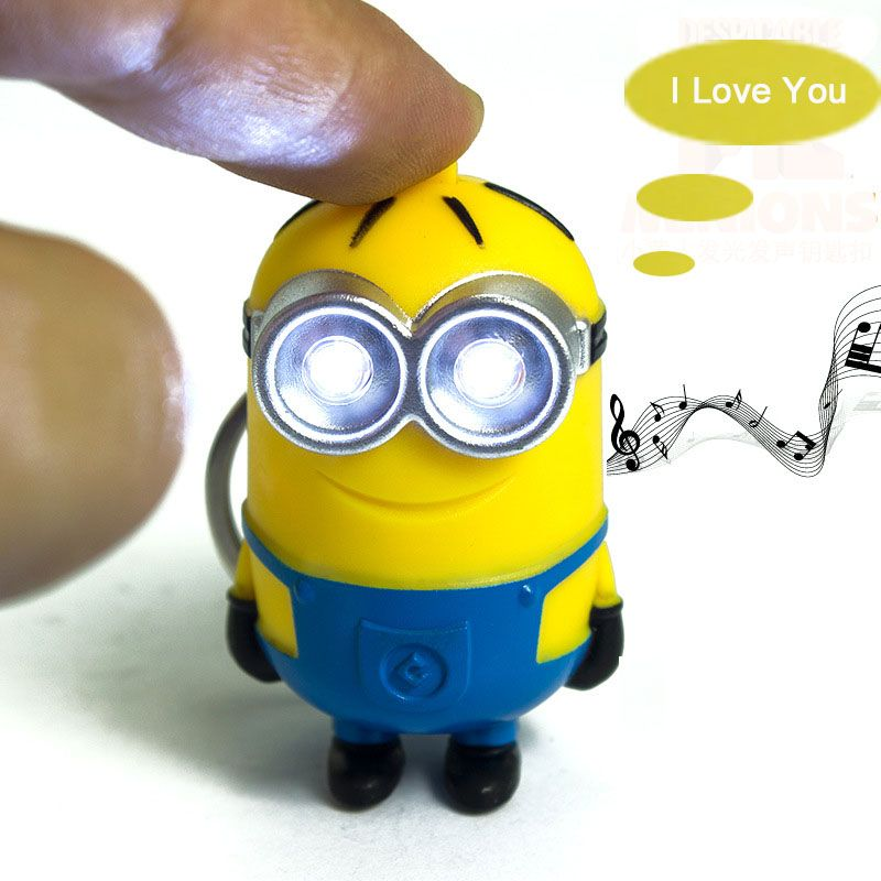 1PCS Cute Cartoon Movie Mini Led Lighting 3D Minion Toys Keychains Doll PVC Action Figure Toys With Sound Children Kids Gifts