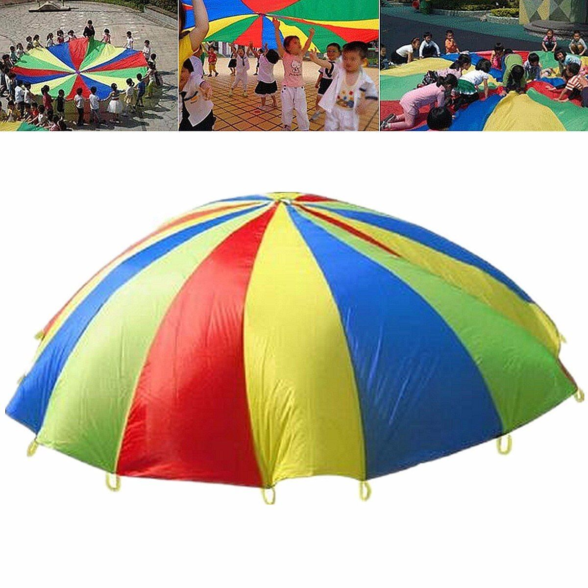 4M Rainbow Umbrella Parachute Toy Child Kids Games Sports Outdoor Development Toy Jump-sack Ballute Educational Play Parachute