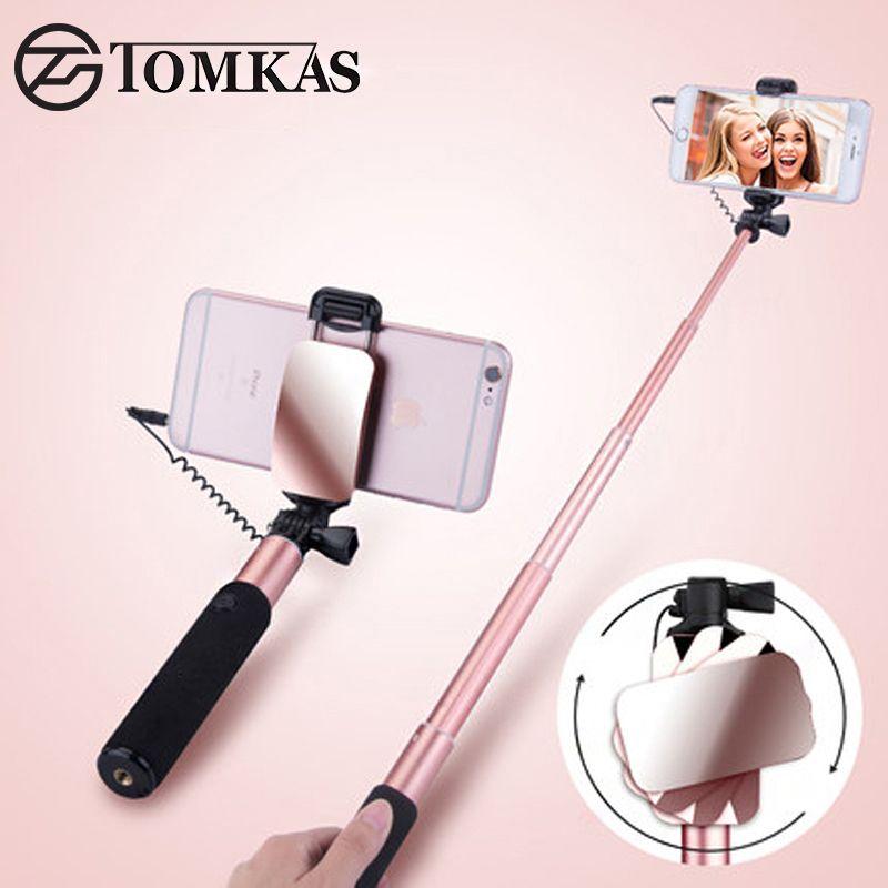 Tomkas мини палка для селфи с кнопка проводной Монопод универсальный для iPhone 6 5 S Android Samsung Huawei Xiaomi Щупы для мангала с зеркало
