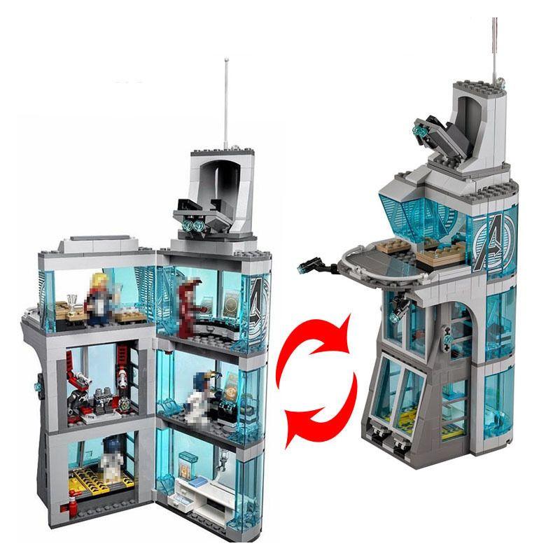 511 stücke decool 7114 Marvel Super Hero Iron Man Angriff Auf Avenger Turm Modell Gebäude blockset Block Ziegel Spielzeug kompatibel 76038