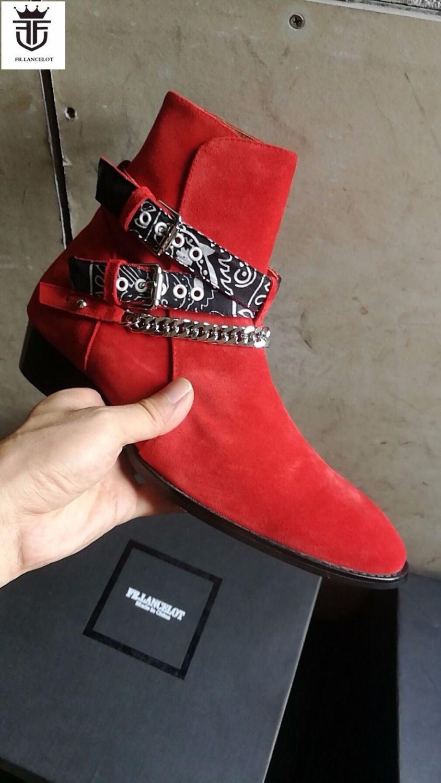 FR.LANCELOT 2018 New Chelsea boot men suede leather boots point toe buckle ankle boots metal sliver chains botas party shoes men