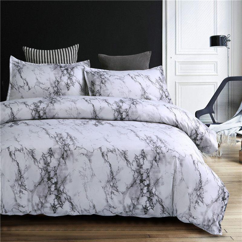 Ensemble de literie motif marbre ensemble de housse de couette 2/3 pièces ensemble de lit Double reine Double housse de couette linge de lit (pas de feuille pas de remplissage)