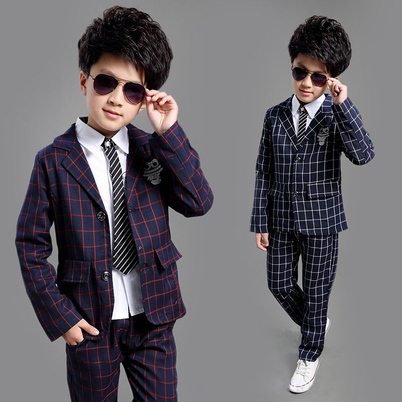 ActhInK nouvelle école enfants Plaid costume angleterre Style garçons formel mariage Blazer costume garçons anniversaire costume tout nouvel an Tuxedos, C008
