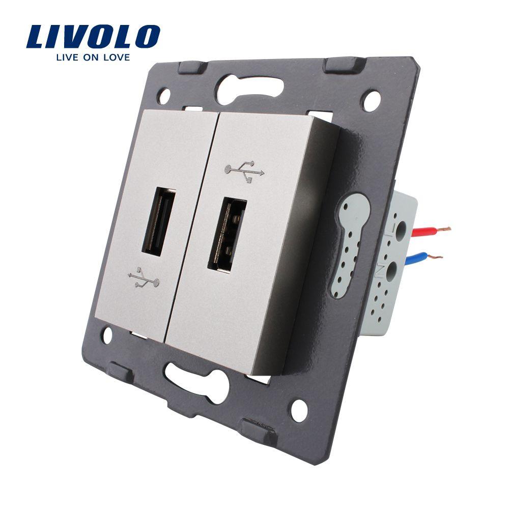 Livolo EU  Standard DIY Parts Plastic Materials Function Key, Grey Color 2 Gang  For USB Socket,VL-C7-2USB-15