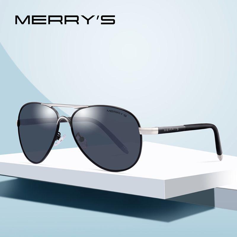 MERRYS Hommes Classique Pilote lunettes de Soleil HD Aluminium Polarisée Conduite lunettes de soleil De Luxe Nuances UV400 S8513
