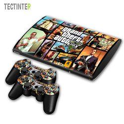 GTA V untuk PS3 Surper Slim 4000 Konsol Vinil Kulit Stiker Cover + 2 Pcs Controller untuk Sony PS 3 super Slim 4000 Controller Decal