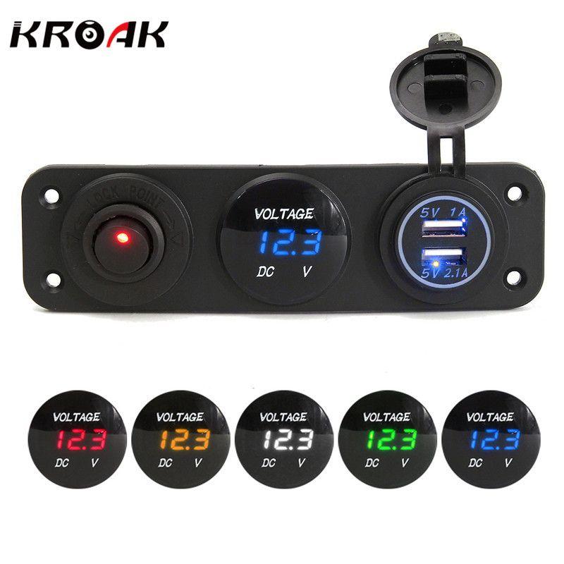 12/24 В Dual USB Автомобильное Зарядное устройство для автомобиля мотоцикла Водонепроницаемый разъем Адаптеры питания Цифровой вольтметр Напря...