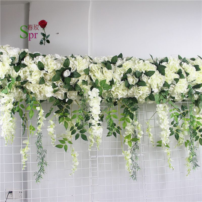 SPR 2m*60cm width wedding small arch flower table runner flower wall stage backdrop decorative artificial flower wholesale