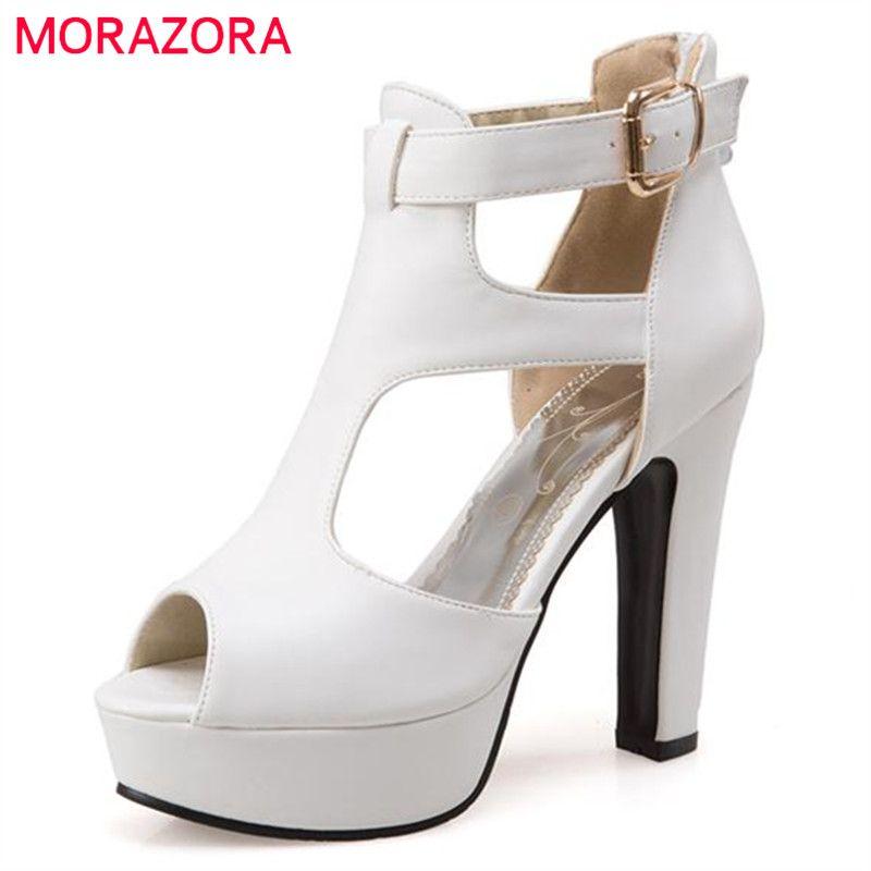 MORAZORA Large size 34-48 women sandals wedding shoes peep toe buckle platform shoe fashion eleagnt summer solid high heels
