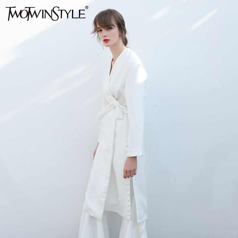 [TWOTWINSTYLE] Autumn women blazers and jackets with belt pearl beading long slit feminino new white cardigan fashion clothing