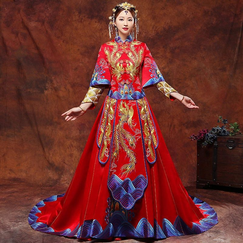 bride cheongsam Dresses chinese ceremony wedding evening dress clothing Embroidery Phoenix Party Qipao traditional style costume