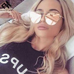 Evrfelan Brand Sunglasses For Women Glasses Cat Eye Sun Glasses Male Mirror Sunglasses Men Glasses Female Vintage Gold Glasses