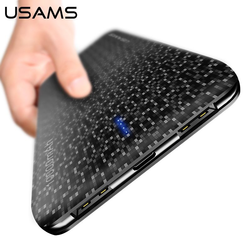 USAMS 10000mAh power bank External battery dual USB <font><b>output</b></font> powe bank Universal powerbank 15mm ultra-thin External power