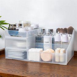 Organizador de maquillaje de plástico caja de joyería de dos capas organizador de cosméticos caja de maquillaje lápiz labial Almacenamiento de maquillaje organizador de mesa de baño